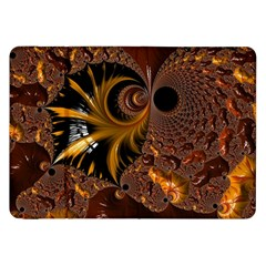 Fractal Brown Golden Intensive Samsung Galaxy Tab 8 9  P7300 Flip Case by Pakrebo