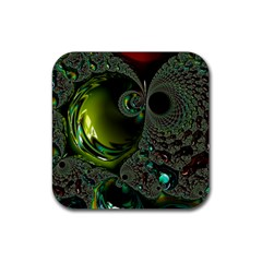 Fractal Intensive Green Olive Rubber Coaster (square)  by Pakrebo