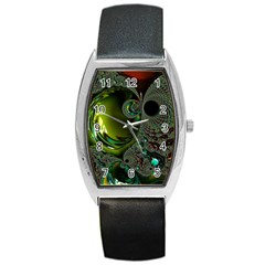 Fractal Intensive Green Olive Barrel Style Metal Watch