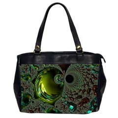 Fractal Intensive Green Olive Oversize Office Handbag (2 Sides)