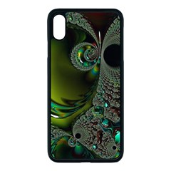 Fractal Intensive Green Olive Apple Iphone Xs Max Seamless Case (black)
