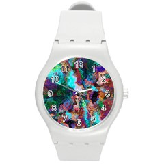 Seamless Abstract Colorful Tile Round Plastic Sport Watch (m)