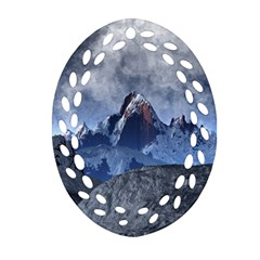 Mountains Moon Earth Space Ornament (oval Filigree)