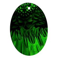Fractal Rendering Background Green Ornament (oval)