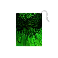 Fractal Rendering Background Green Drawstring Pouch (small)