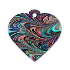Seamless Abstract Marble Colorful Dog Tag Heart (one Side)