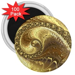 Fractal Golden Background Aesthetic 3  Magnets (100 Pack)
