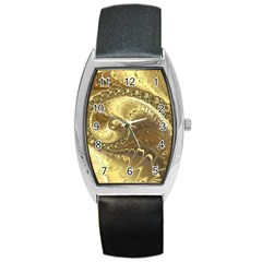 Fractal Golden Background Aesthetic Barrel Style Metal Watch