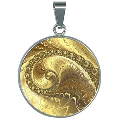 Fractal Golden Background Aesthetic 30mm Round Necklace