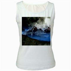 Mountains Moon Earth Space Women s White Tank Top