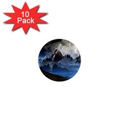 Mountains Moon Earth Space 1  Mini Magnet (10 Pack)