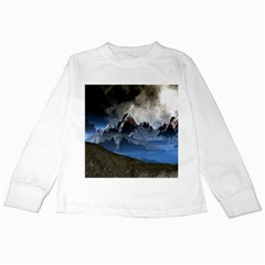 Mountains Moon Earth Space Kids Long Sleeve T Shirts by Pakrebo