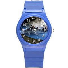 Mountains Moon Earth Space Round Plastic Sport Watch (s)