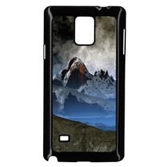 Mountains Moon Earth Space Samsung Galaxy Note 4 Case (black)