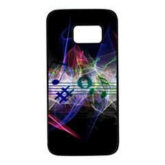 Brush Particles Music Clef Wave Samsung Galaxy S7 Black Seamless Case by Pakrebo