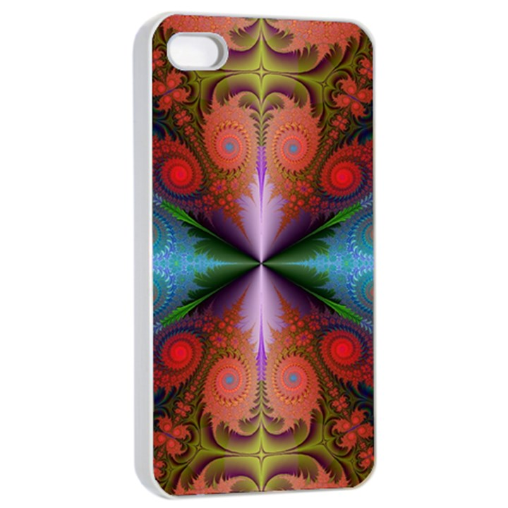 Fractal Fractal Background Design Apple iPhone 4/4s Seamless Case (White)