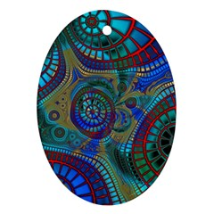 Fractal Abstract Line Wave Design Ornament (oval)