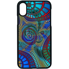 Fractal Abstract Line Wave Design Apple Iphone X Seamless Case (black)