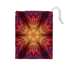 Fractal Abstract Artistic Drawstring Pouch (large)