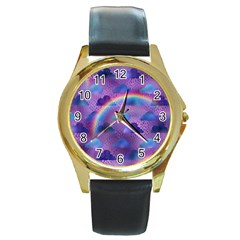 Colorful Iridescent Clouds Round Gold Metal Watch
