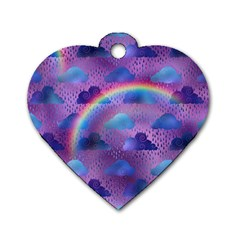 Colorful Iridescent Clouds Dog Tag Heart (two Sides) by tarastyle