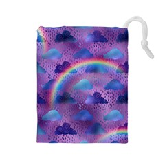 Colorful Iridescent Clouds Drawstring Pouch (large)