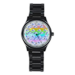 Colorful Iridescent Clouds Stainless Steel Round Watch by tarastyle
