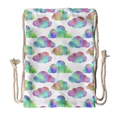 Colorful Iridescent Clouds Drawstring Bag (large)