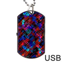 Abstract Glitch Pattern Dog Tag Usb Flash (two Sides) by tarastyle