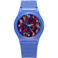 Abstract Glitch Pattern Round Plastic Sport Watch (s) by tarastyle