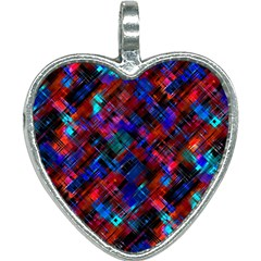 Abstract Glitch Pattern Heart Necklace by tarastyle