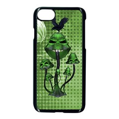 Funny Mushroom Skulls With Crow And Butterflies Apple Iphone 7 Seamless Case (black)