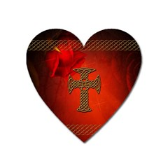 Wonderful Celtic Cross On Vintage Background Heart Magnet by FantasyWorld7