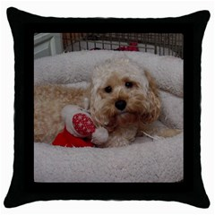 Cockapoo In Dog s Bed Throw Pillow Case (black)