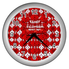 Happy Valentines Every Day Wall Clock (silver)