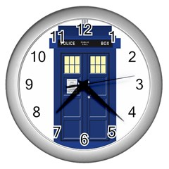 Tardis Doctor Who Time Travel Wall Clock (silver)