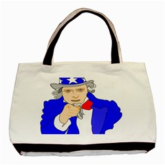 Uncle Sam I Want You Army Usa Man Basic Tote Bag (two Sides)