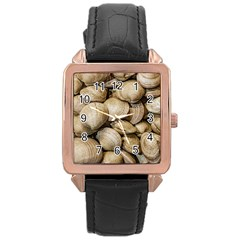 Shellfishs Photo Print Pattern Rose Gold Leather Watch