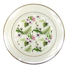Tropical Flowers Pattern Porcelain Plates