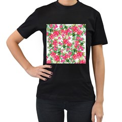 Red Flowers Pattern Women s T Shirt (black) (two Sided) by goljakoff