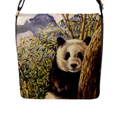Panda Flap Closure Messenger Bag (l) by ArtByThree