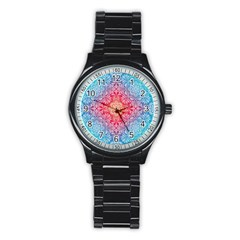 Colorful Mandala Stainless Steel Round Watch by tarastyle