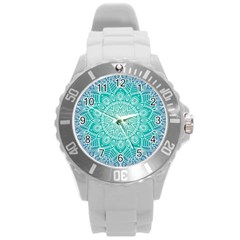 Colorful Mandala Round Plastic Sport Watch (l) by tarastyle