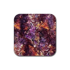 Colorful Rusty Abstract Print Rubber Coaster (square)  by dflcprintsclothing
