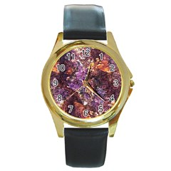 Colorful Rusty Abstract Print Round Gold Metal Watch