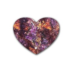 Colorful Rusty Abstract Print Rubber Coaster (heart)