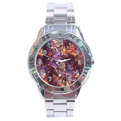 Colorful Rusty Abstract Print Stainless Steel Analogue Watch
