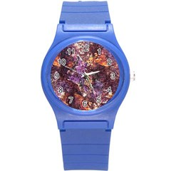 Colorful Rusty Abstract Print Round Plastic Sport Watch (s)