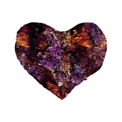 Colorful Rusty Abstract Print Standard 16  Premium Flano Heart Shape Cushions