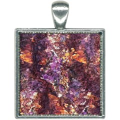 Colorful Rusty Abstract Print Square Necklace by dflcprintsclothing